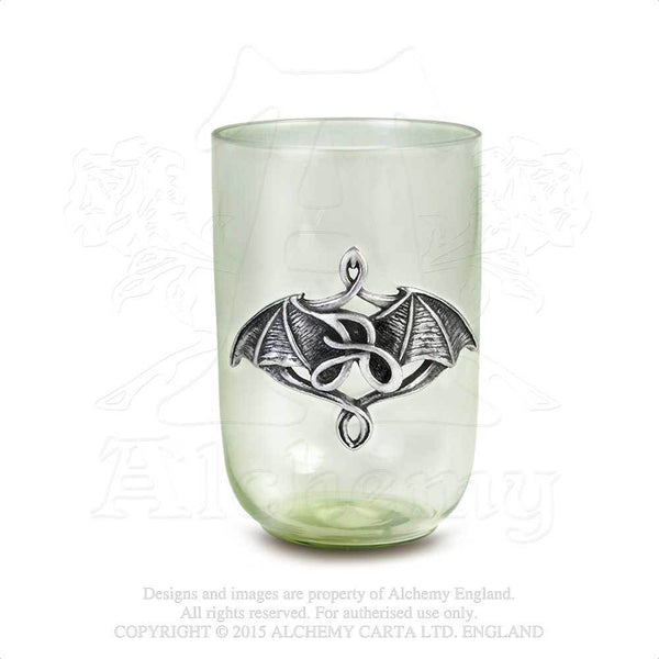 Le Vert De Minuit Shotglass - Alchemy Gothic Art Noveaux Bat Hand-blown forest green shot glass