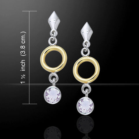 Circle ART DECO Dangle Earrings in .925 Sterling Silver with gold accent - choice of gemstone