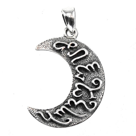Artemis Goddess Pendant in .925 Sterling Silver - Crescent Moon with Theban Letters - Dryad Design LUNAR Wisdom Pagan Amulet