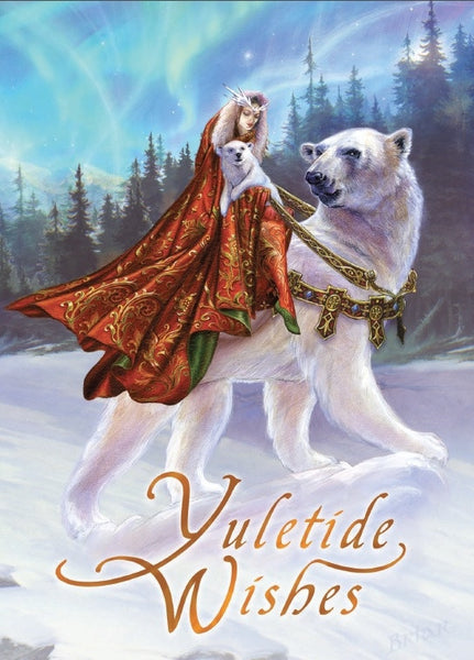 Queen of the Aurora Bears YULE Card - Briar Polar Bear Holiday Solstice Greeting Card