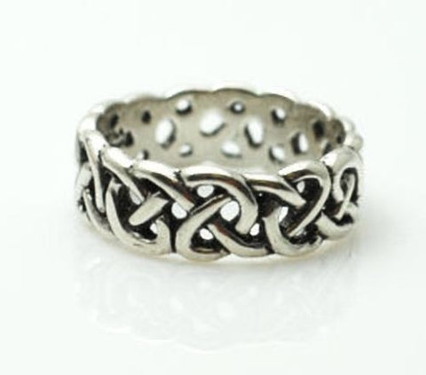 CELTIC AVALON Ring in .925 Solid Sterling Silver  - Welsh Medieval Wedding Handfasting Ring - Legends of King Arthur Romantic Medieval Wedding Ring