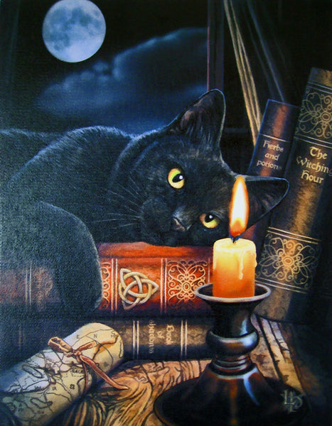 Black Cat Greeting Card by Lisa Parker - Witching Hour Triquetra Black Cat Kitty Magick card