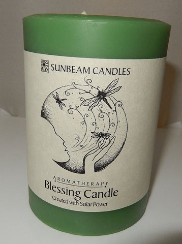 BLESSING CANDLE 3 x 4 Pillar SUNBEAM CANDLES Beeswax SOY Sage Lemongrass Ginger