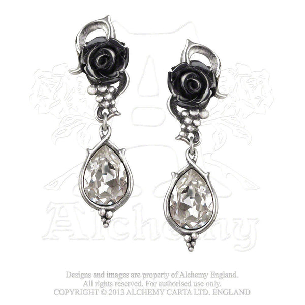Bacchanal BLACK ROSE Earrings - Alchemy GOTHIC Romance Passionate Desire Earrings