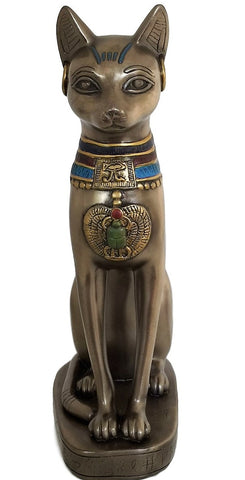 Cat Goddess Bastet Statue - Bronze Tone Bast with Scarab and Eye of Horus Necklace Home Decor Figurine