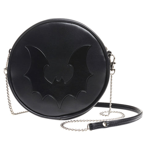 Black Bat Purse - Alchemy Gothic Flying Vampire Bat Round Shoulder Bag