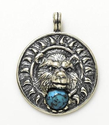 Bear Medicine Pendant .925 Sterling Silver with genuine Turquoise