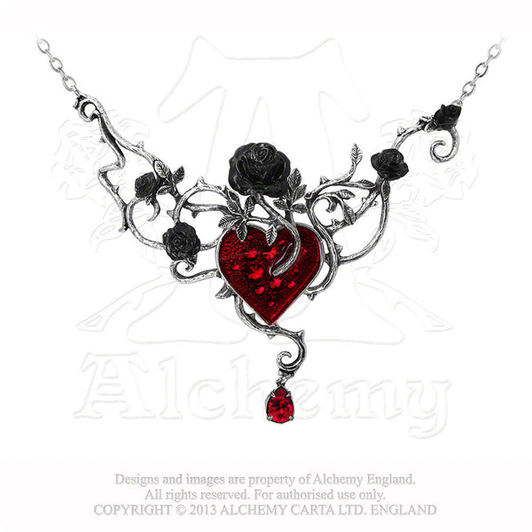 Bed of Blood Roses Heart Necklace - Alchemy Gothic Dark Romance Pendant Love Black Rose Jewelry
