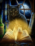 Black Cat Greeting Card by Lisa Parker - Bewitched Moon Spell Kitty Magick Card