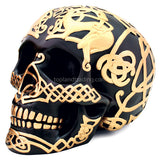 Black Celtic Skull with Gold Celtic Design - Gothic Home Decor Large Black Satin Skull Statue with Gold