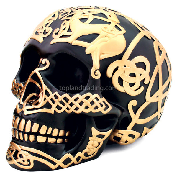 Black Celtic Skull With Gold Celtic Design Gothic Home