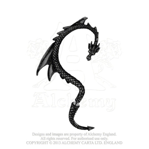 Black Dragon Ear Wrap - Alchemy Gothic Black Dragon's Lure Ear Wrap for right ear