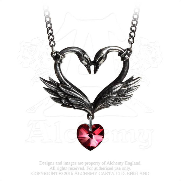 Black Swan Heart Necklace - Alchemy Gothic Two Black Swans with crystal heart dangle pendant