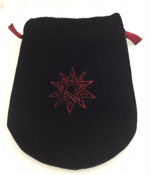Black Velvet Double Pentacle Tarot Bag - Embroidered Pentagram Rune Treasure Bag