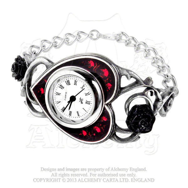 Blood Rose Watch - Alchemy Gothic Bed Of Blood Roses Watch - Floral Black Rose Heart bangle bracelet wristwatch