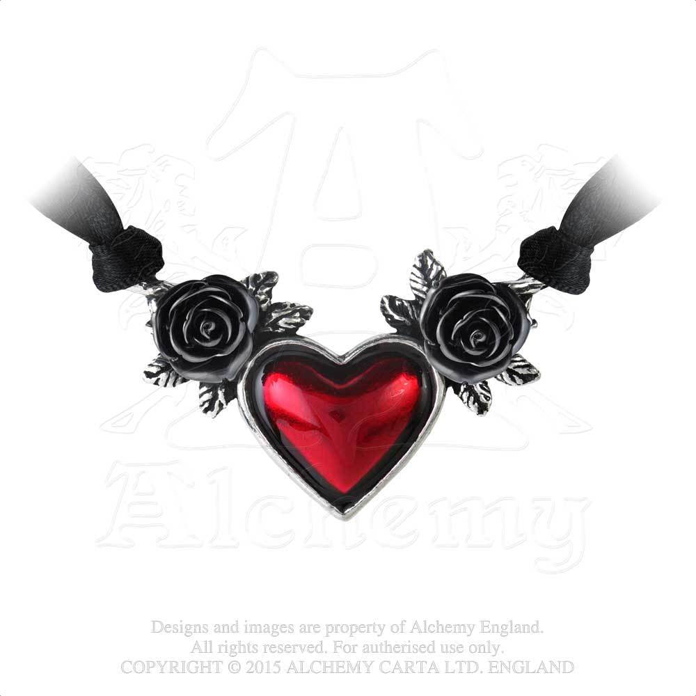 Blood Heart Necklace Alchemy Gothic Blood Red Enamel Heart And