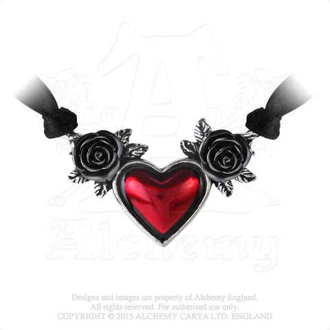 Blood Heart Necklace - Alchemy Gothic Blood Red Enamel Heart and Black Rose Pendant