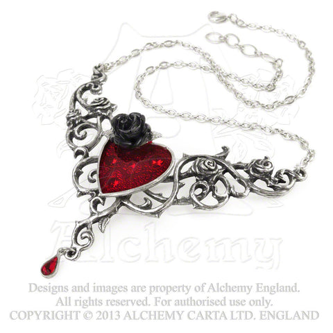 Blood Rose Heart Necklace - Alchemy Gothic Dark Romance Pendant Love Black Rose Jewelry