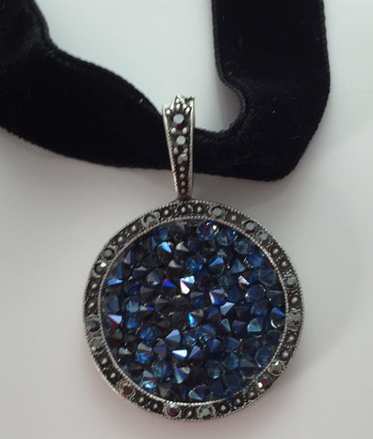 "Blue Druzy Crystal Choker Necklace 15.5"" Black Velvet - Sweet Romance Necklace"