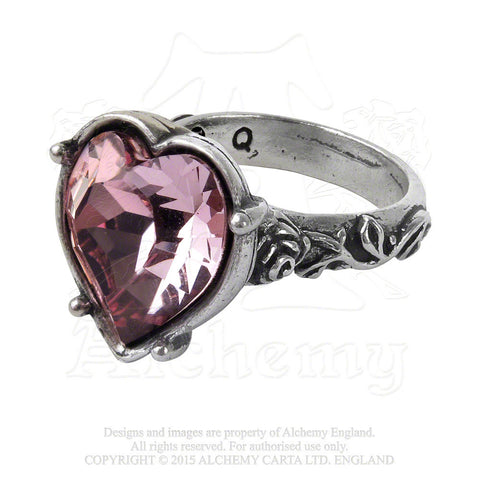 Medieval Crystal Heart Betrothal Ring - Alchemy Gothic Bower Troth Ring with Antique Pink Heart and Rose