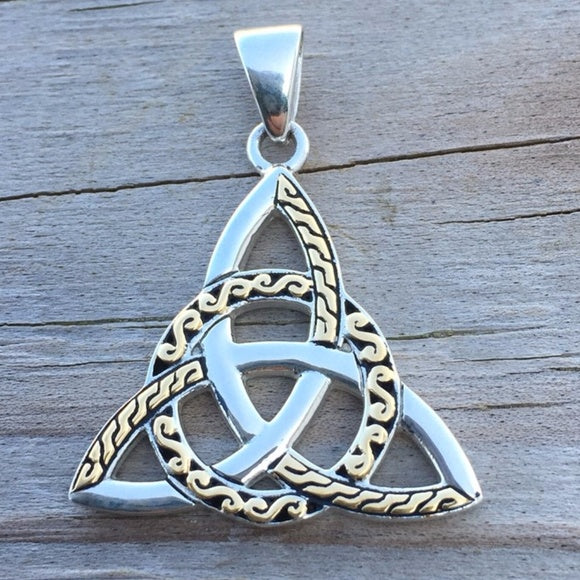Braided Celtic Knot Triquetra Pendant in .925 Sterling Silver with 18k Gold Accents - Goddess Irish Trinity Pendant
