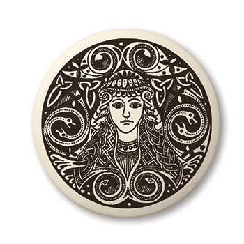 Brigid Triple Goddess Pendant | Handcrafted Porcelain Round Brigantia Necklace