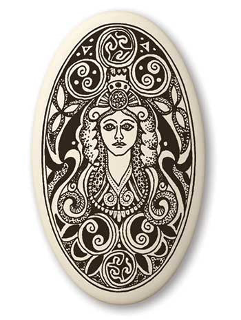 Brigid Triple Goddess Pendant | Handcrafted Porcelain Oval Brigantia Necklace