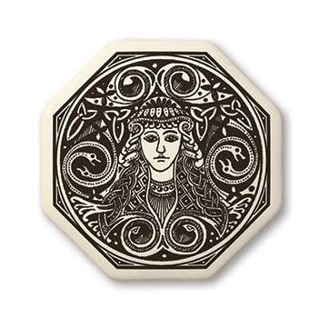 Brigid Triple Goddess Pendant Handcrafted Porcelain Octagon Brigantia Necklace