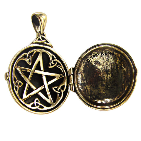Celtic Hidden Pentacle Pendant Locket in gold tone Bronze - Dryad Design Pentagram Triskelion amulet