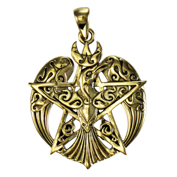 Bronze Raven Pentacle Pendant - Dryad Design Tribal Moon Raven Crow for Power Fate Transformation