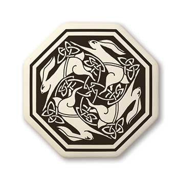 Celtic Hare Octagon Shaped Porcelain Pendant