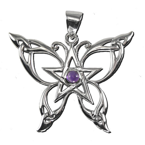 Butterfly Pentacle Pendant in .925 Sterling Silver - Dryad Design Celtic Butterfly with Purple Amethyst amulet