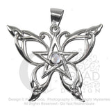 Butterfly Pentacle Pendant in .925 Sterling Silver - Dryad Design Celtic Butterfly with Rainbow Moonstone amulet