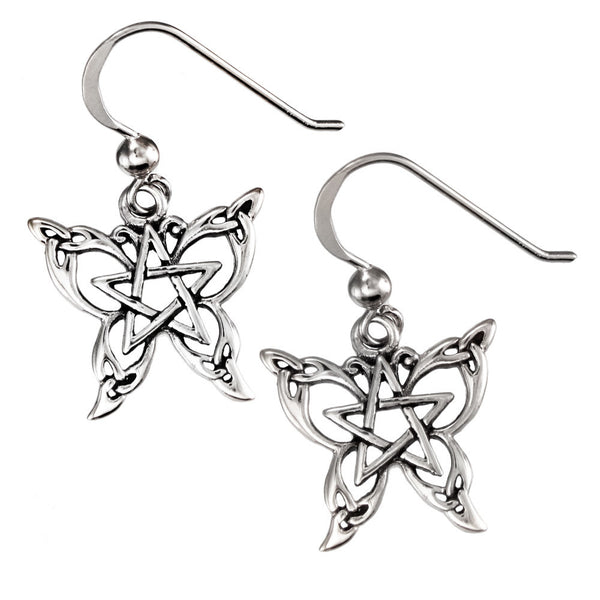 Sterling Silver Butterfly Pentacle Earrings - Dryad Design Small Celtic Butterfly in .925 Silver Jewelry