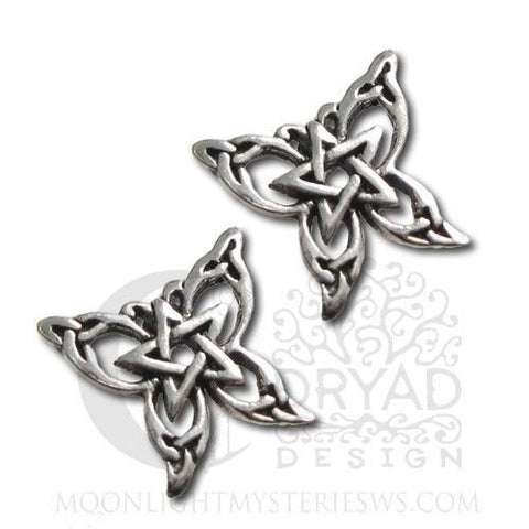 Butterfly Pentacle Earrings Sterling Silver Dryad Design butterfly post earrings
