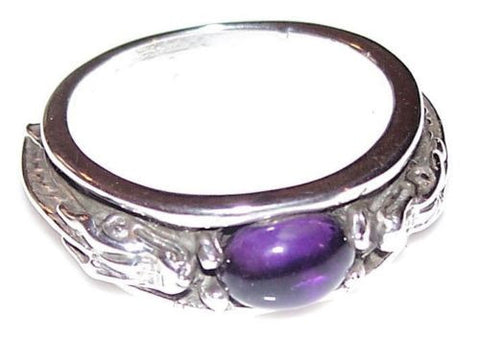 CELTIC DRAGON Ring in .925 Sterling Silver with natural Amethyst | SERPENT MEDIEVAL Dragon Ring
