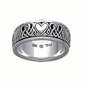 Celtic Heart and Trinity Ring in .925 Sterling Silver - Celtic Knotwork Passion Love Spinner Ring