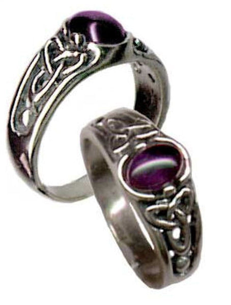 CELTIC Triquetra Ring in .925 Sterling Silver - Triskele Ring w/ natural Amethyst Trinity knot