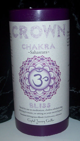 CROWN CHAKRA Meditation candle Crystal Journey CANDLES Pillar Sahasrara BLISS
