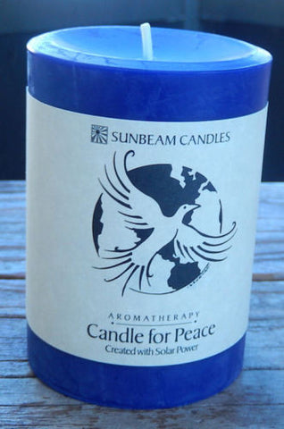 Candle for Peace 3 x 4 Pillar SUNBEAM CANDLES Beeswax SOY Lemongrass Cedarwood