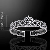 Celtic Heart Cuff Bracelet in .925 Sterling Silver - Celtic Knotwork Love is Forever Bracelet