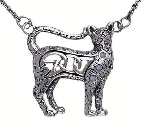 Celtic Cat Kitty Necklace in .925 Sterling Silver features choice of gemstone and Celtic Knotwork
