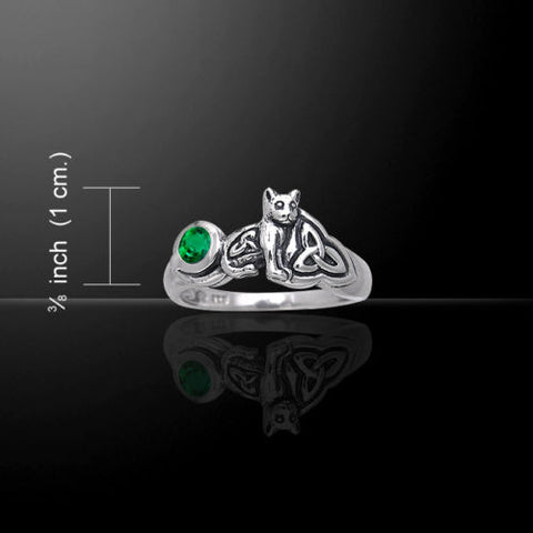 Celtic Cat Kitty Ring in .925 Sterling Silver with choice of gemstone and Celtic Knotwork