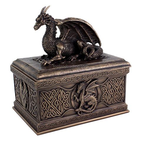 Celtic Dragon Treasure Chest - Dragon Jewelry or Trinket box - Sculpted Dragon Home Decor