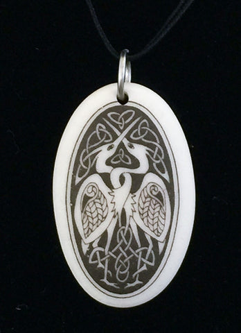 Celtic Heron Bird Pendant | Handcrafted Porcelain Oval Birds of Prophecy Amulet