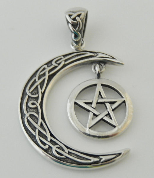 Gothic PENTACLE Pendant .925 Sterling Silver - Celtic Crescent Moon w/ PENTAGRAM dangle Amulet
