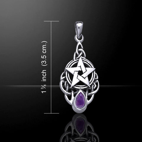 Celtic Pentacle Pendant .925 Sterling Silver w/ choice of gemstone - Celtic knotwork Goddess Pentagram Star Amulet