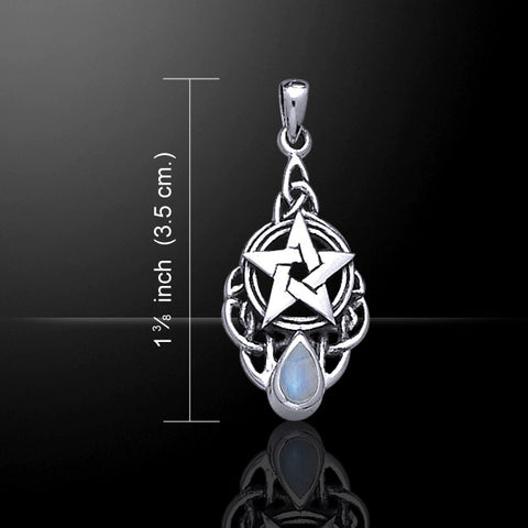 Celtic Pentacle Pendant .925 Sterling Silver w/ Rainbow Moonstone - Celtic knotwork Goddess Pentagram Star Amulet