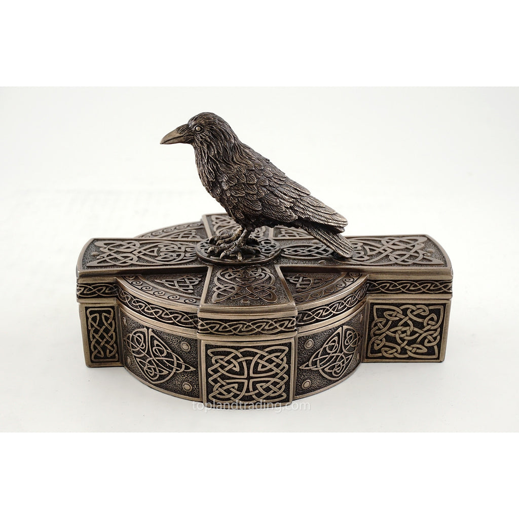 Celtic Raven On Celtic Cross Treasure Box Gothic Home Decor Crow Sculpture Trinket Jewelry Box