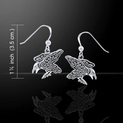 Celtic Raven Earrings in .925 Sterling Silver | Morrigan Crow Earrings with Celtic Spirals